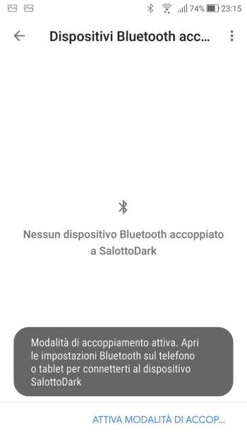 Google Home - Dispositivi - Salotto Dark - Impostazioni Dispositivo - Bluetooth - Rintracciabile