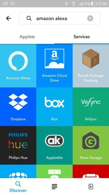 IFTTT - App - Ricerca Applets - Amazon Alexa