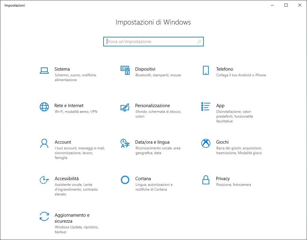 Windows 10 1809 - Impostazioni di Windows