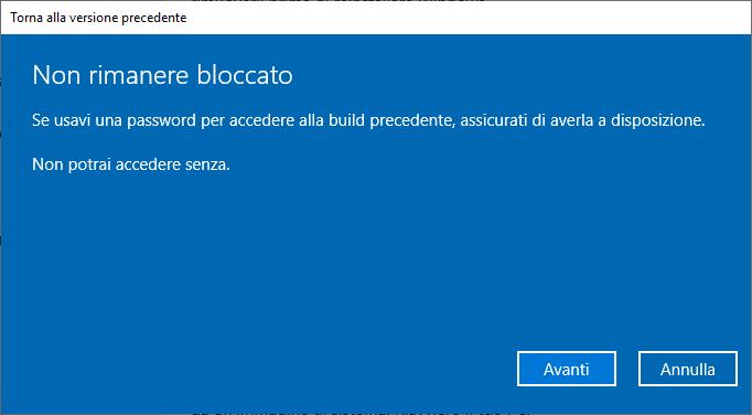 Windows 10 1809 - Torna alla versione precedente di Windows 10 - Non rimanere bloccato