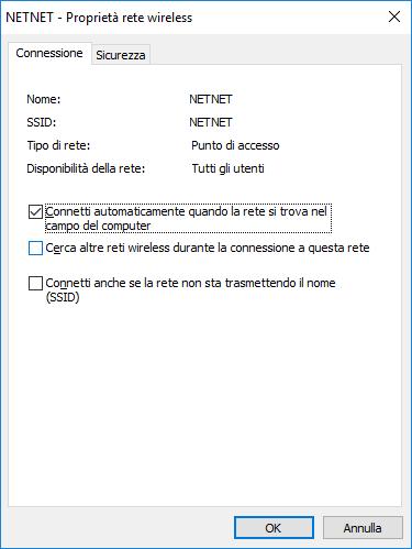 Windows 10 - Proprietà rete wireless