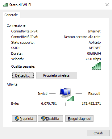 Windows 10 - Stato rete Wi-Fi