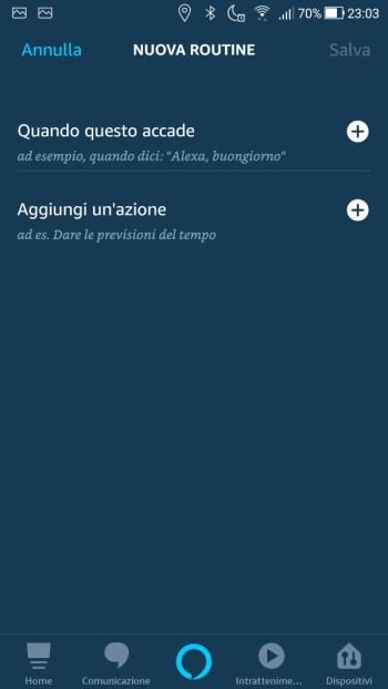 Amazon Alexa App - Maschera Nuova Routine
