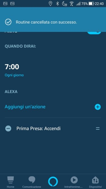 Amazon Alexa App - Routine cancellata