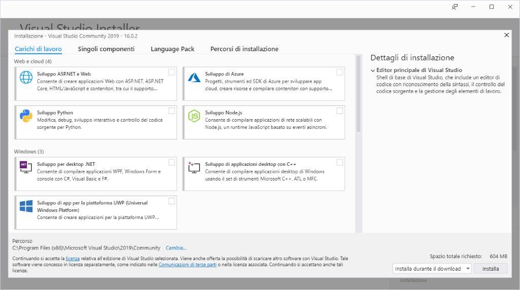 Microsoft Visual Studio 2019 - Installazione - Carichi di lavoro