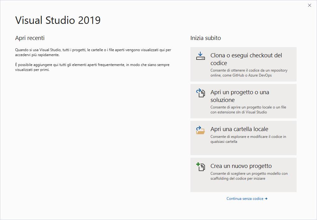 Microsoft Visual Studio 2019 - Prima pagina