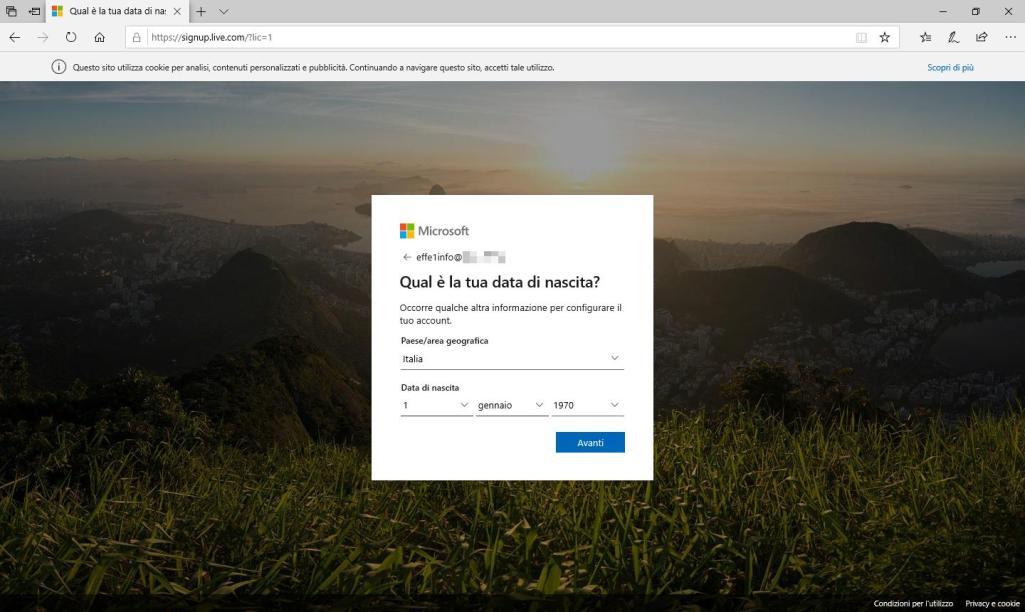 Microsoft Sigup Live - Crea account - Quale è la tua data di nascita? - Compilata