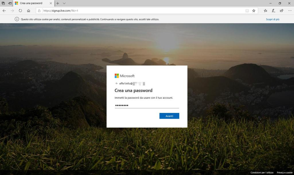 Microsoft Sigup Live - Crea account - Immissione Password effettuata