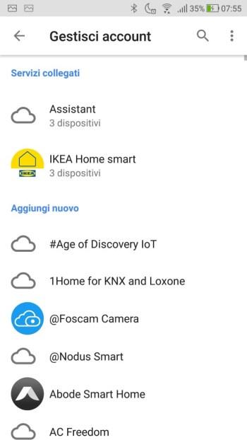 Google Home - Gestisci Account