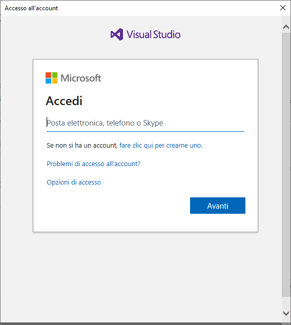 Microsoft Visual Studio 2019 - Accedi a Visual Studio - Inserire account