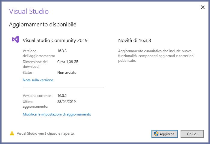 Microsoft Visual Studio 2019 - IDE - Aggiornamento Disponibile