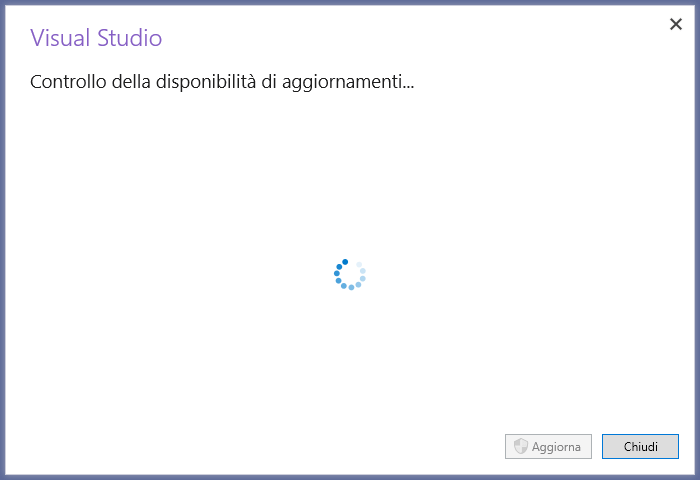 Microsoft Visual Studio 2019 - IDE - Controllo della disponibilità di aggiornamenti
