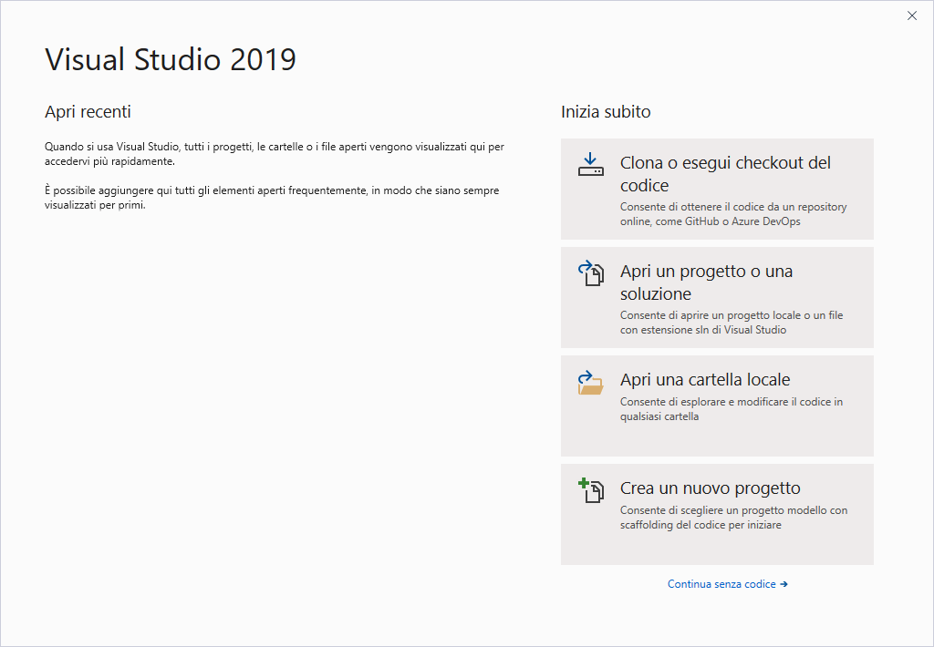 Microsoft Visual Studio 2019 - Maschera iniziale