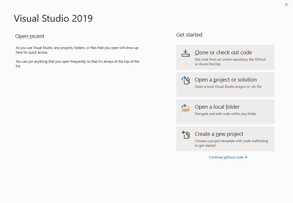 Microsoft Visual Studio 2019 - Maschera Iniziale - Inglese