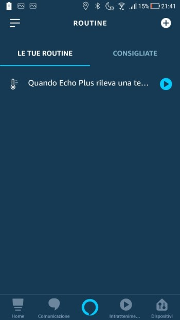 Amazon Alexa App - Routine - Elenco