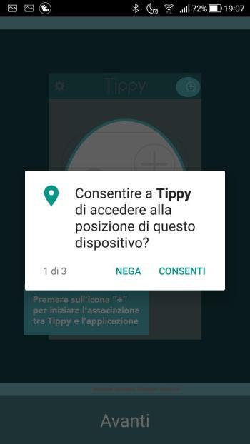 Tippy - Richiesta accesso posizione dispositivo