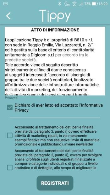 Tippy - Registrazione - Privacy Accettata