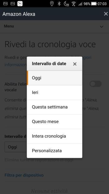 App Alexa - Rivedi la cronologia voce - Intervallo Date