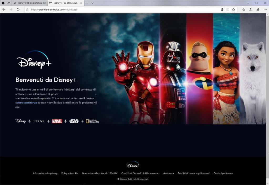 Disney+ - Inserisci una password - Metodo di pagamento - Benvenuti da Disney+