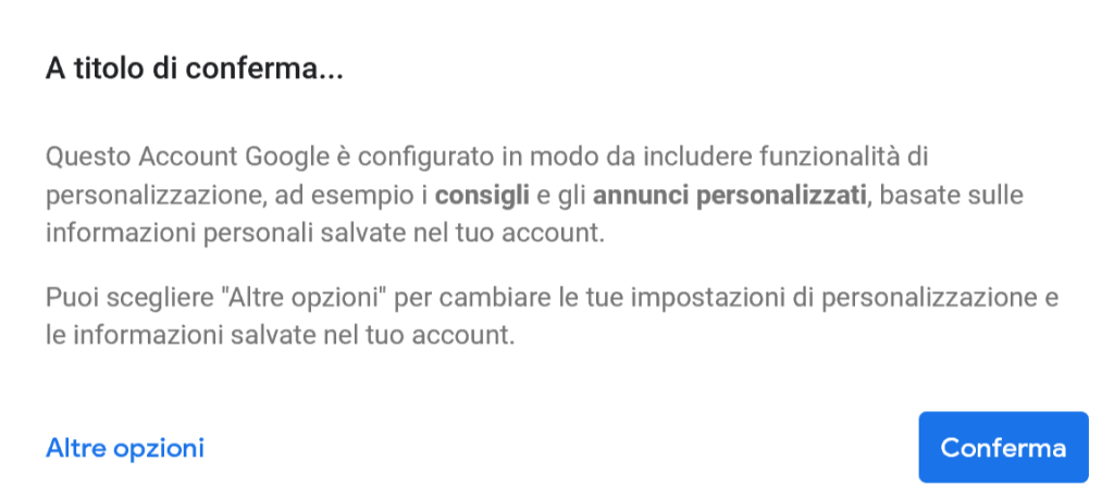 Account GMail - A titolo di conferma