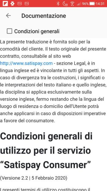 Satispay - Documentazione - Condizioni generali