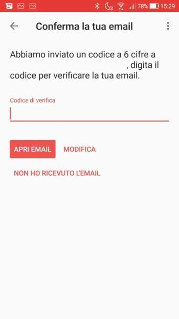 Satispay - conferma indirizzo email