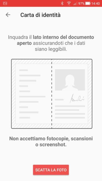 Satispay - Carta Identità Cartacea