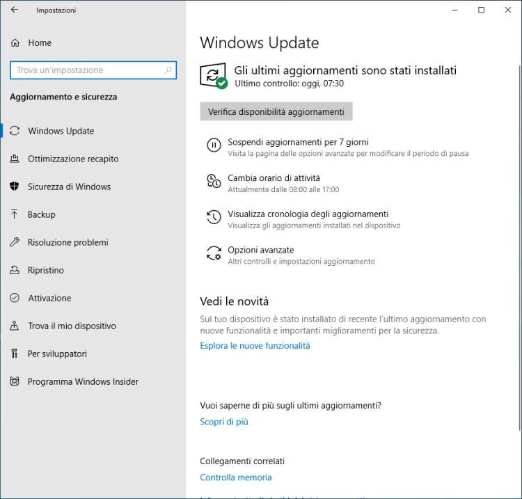 Windows 10 - Aggiornamento e sicurezza