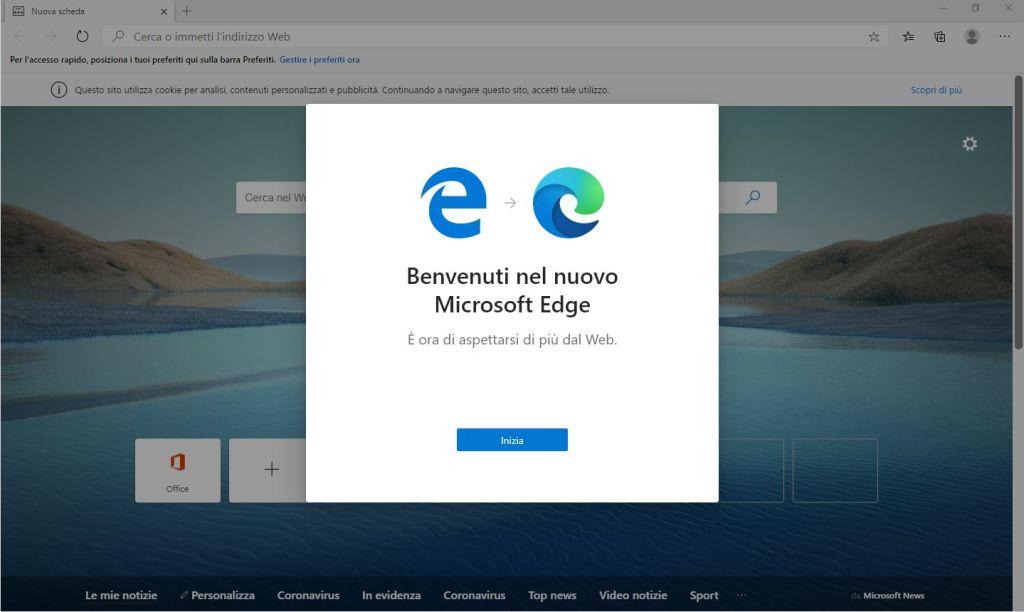 Edge Chromium - Benvenuto nel nuovo Microsoft Edge - Inizia
