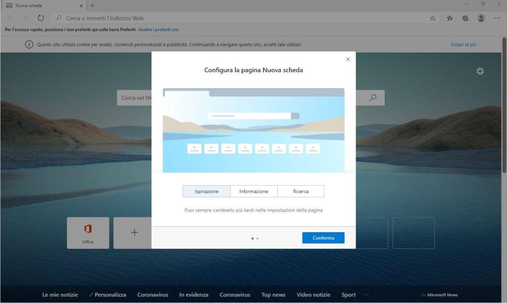 Edge Chromium - Configura la pagina Nuova scheda