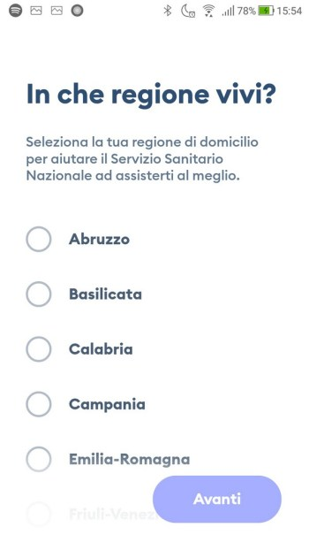 Immuni - In che regione vivi?