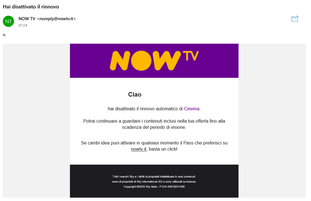 Now TV - Email conferma disdetta offerta
