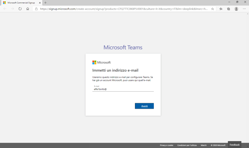 Microsoft Teams - Immetti un indirizzo e-mail - Indirizzo inserito