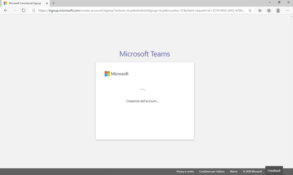 Microsoft Teams - Creazione Account in corso