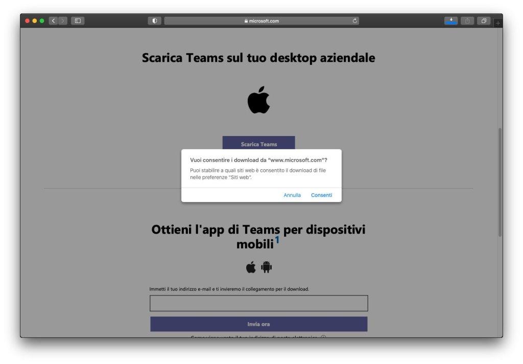 Microsoft Teams macOS - Home Page Download App - Conferma