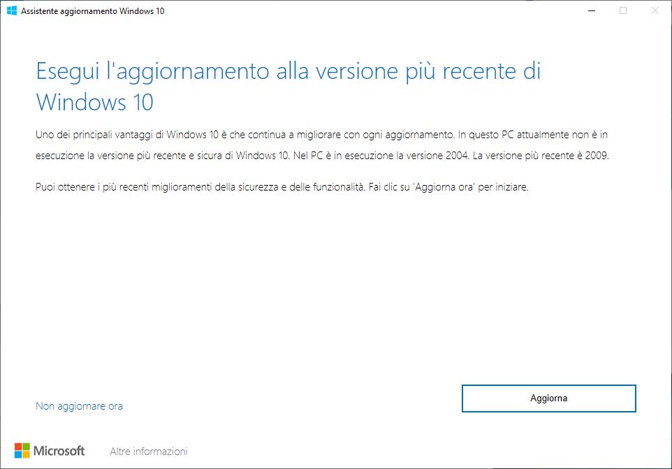 Windows 10 - 20H2 - Eseguire l'aggiornamento alla versione più recente di Windows 10