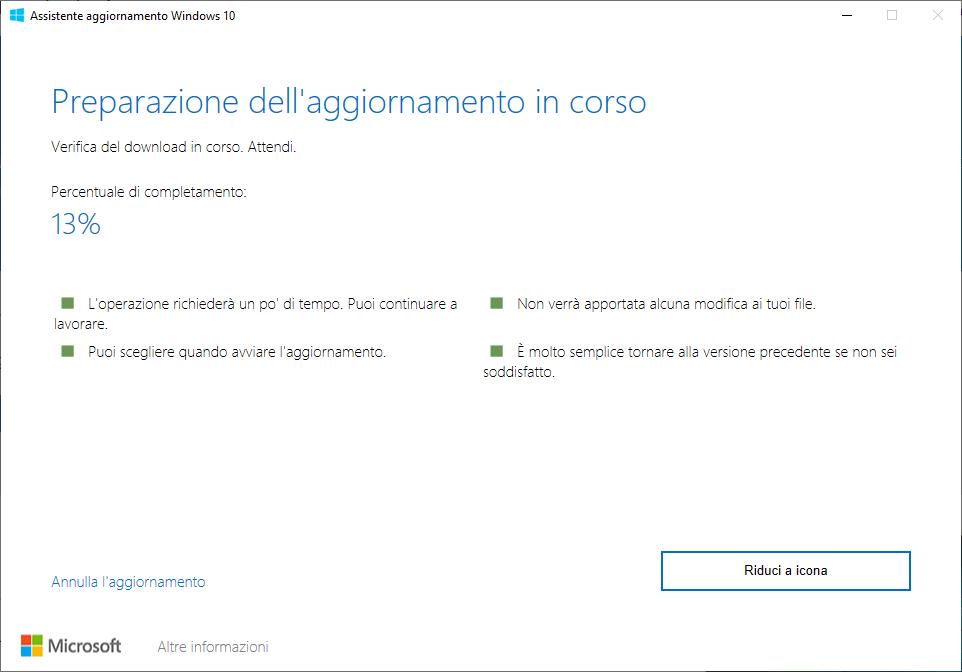 Windows 10 - 20H2 - Preparazione dell'aggiornamento in corso - Verifica Download