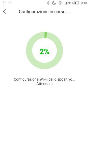 App EZVIZ - Configurazione WiFi del dispositivo in corso