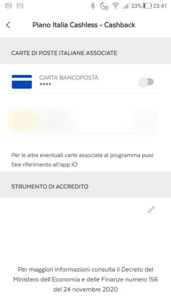 App BancoPosta - Piano Italia Cashless - Cashback