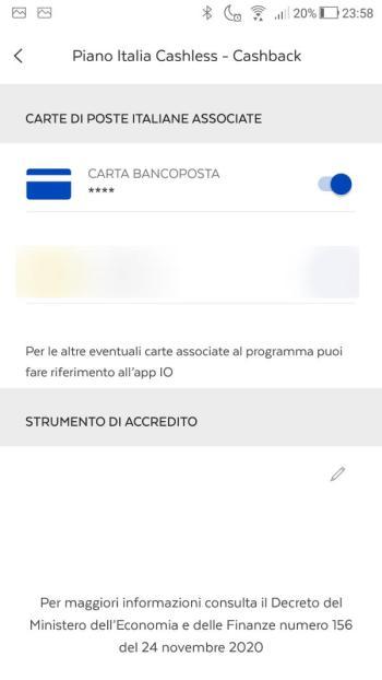 App BancoPosta - Piano Italia Cashless - Cashback Attivo