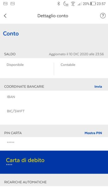 App BancoPosta - Dettaglio conto