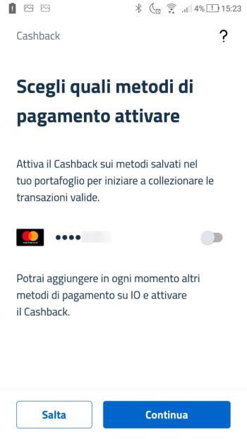 App IO - Cashback - Metodi di pagamento