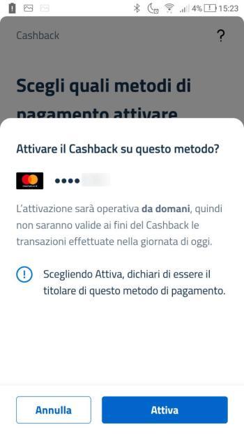 App IO - Cashback - Attiva metodo di pagamento