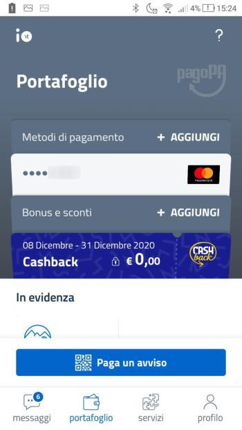 App IO - Cashback Attivato