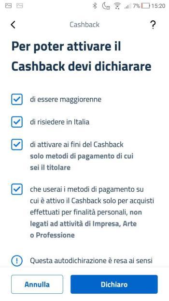 App IO - Cashback - Dichiarazioni Compilate