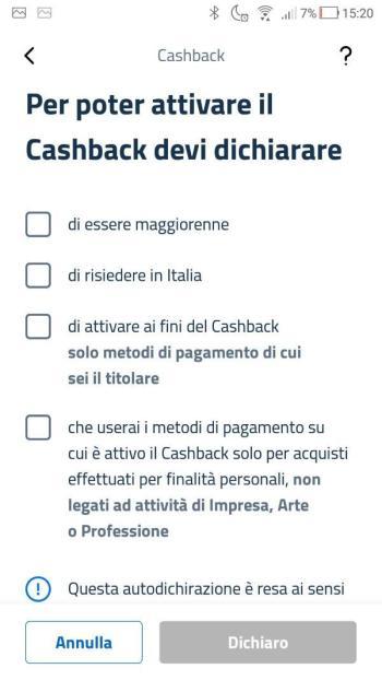 App IO - Cashback - Dichiarazioni