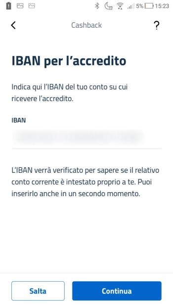 App IO - Cashback - IBAN Compilato