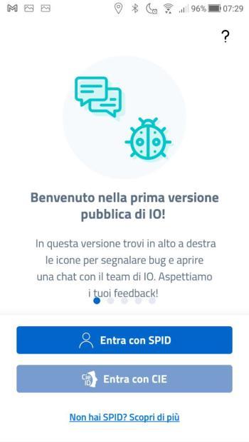 App IO - Scelta metodo di login