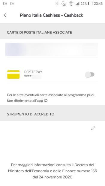 App PostePay - Piano Italia Cashless - Cashback