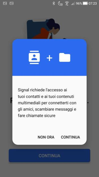 App Signal - Accesso contatti e contenuti multimediali